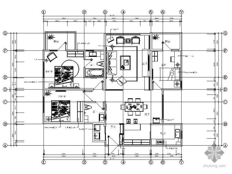 西海岸三室两厅家装设计施工图(含效果图)