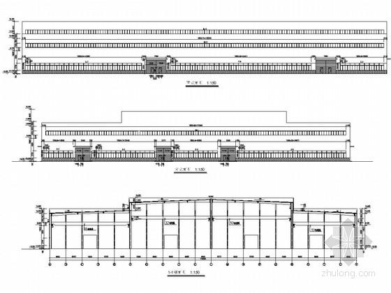 50吨钢结构高低跨厂房结构施工图(含10t 16t 32t吊)