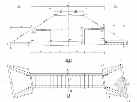 1-3米钢筋混凝土盖板涵布置图(斜交10度)