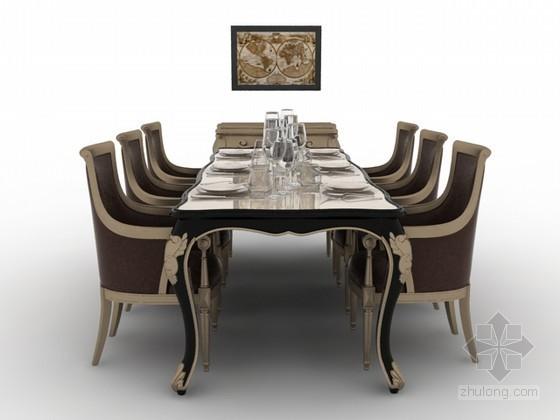 欧式餐桌椅组合3d模型