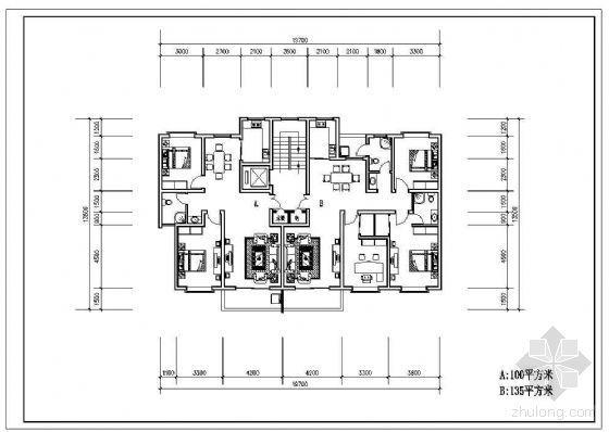 某一梯两户板式住宅户型平面