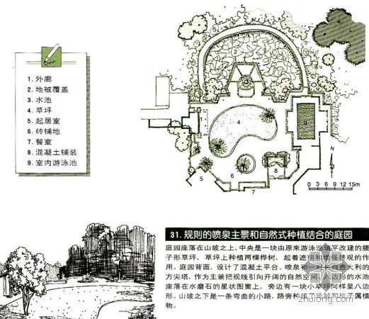 规则式喷泉为主景和自然式种植的庭院景观设计图