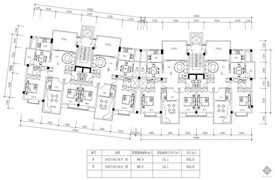 塔式高层一梯两户户型组合(105/103)
