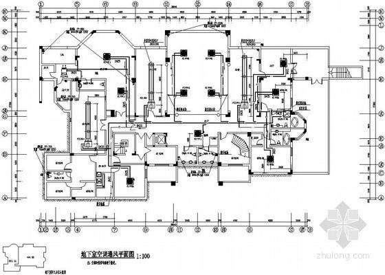 天津某建筑公司独栋办公楼空调、通风设计平面图