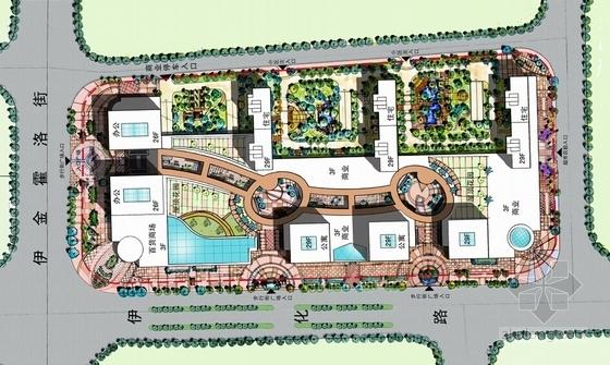 [内蒙古]artdeco风格高层城市综合体建筑设计方案文本-artdeco风格高层城市综合体总平面图
