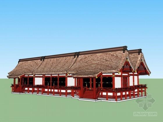 日式古建筑sketchup模型下载