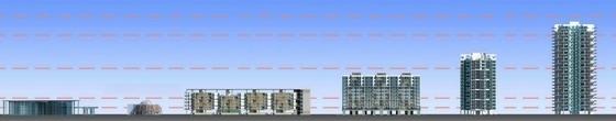 [广州]现代宜居亚运村地块规划设计方案文本-现代宜居亚运村地块规划立面图