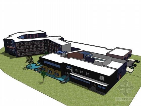 现代旅馆建筑SketchUp模型下载