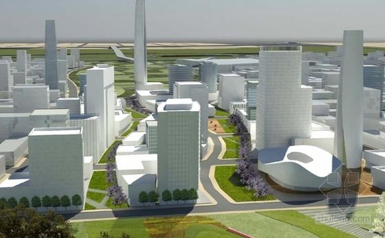 现代风格城市新区概念性规划效果图