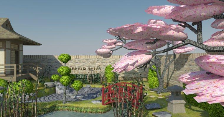 日式庭院su模型9套+cad施工图6套日式枯山水庭院