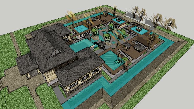 新中式古典会所建筑模型设计-场景三