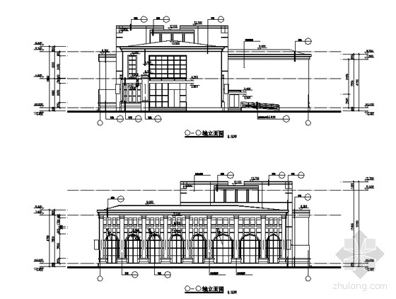 [徐州]某国际花园城售楼建筑结构水电施工图-售楼处立面