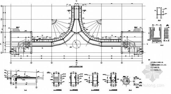 [陕西]曲线梁混凝土框架平台及钢烟囱结构设计图