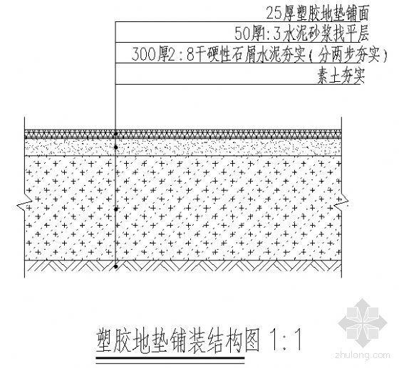 塑胶地垫铺装结构图