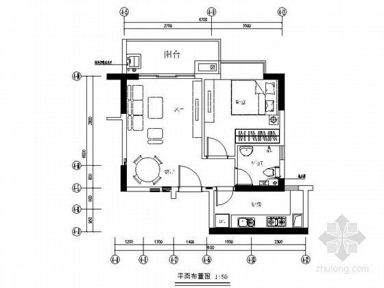 [深圳]东方花园现代简约一居室样板房设计装修图