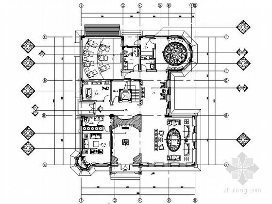 [内蒙古]某部长三层中式风格别墅室内设计CAD施工图