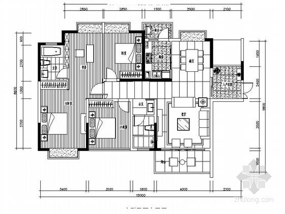 [广西]某现代中式风格四室两厅样板间室内装修施工图(含效果)