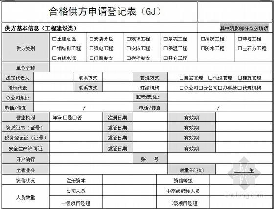 [采购管理]合格供应商申请登记表(工程建设类)
