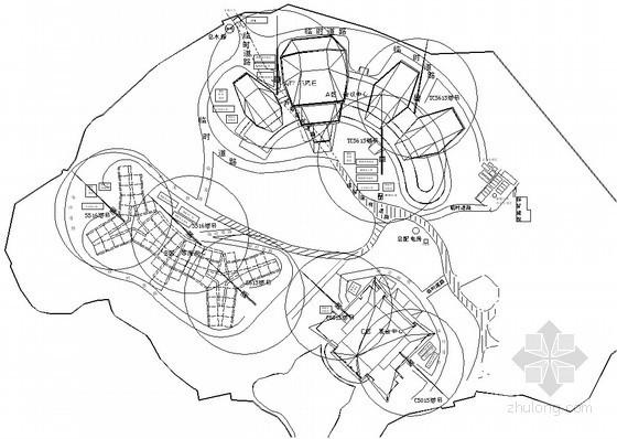 [湖北]框剪结构宝石型屋面会议中心施工组织设计(200余页附图)-主体施工阶段总平面布置图