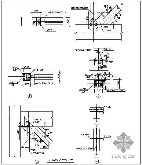 某21m钢结构连廊节点构造详图(三)