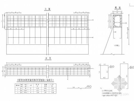 U型桥台施工工艺流程图资料下载-U型桥台侧墙顶部钢筋布置通用图
