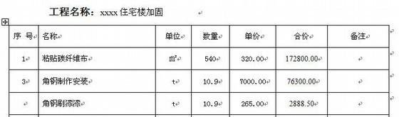 [实例]住宅楼结构加固工程(梁板)预算书(附图纸)