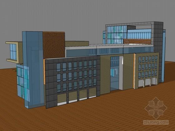 低层办公建筑SketchUp模型下载-低层办公建筑