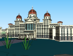 欧式风格酒店建筑模型设计