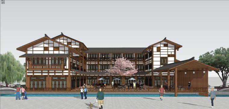 川东吊脚楼式商业建筑模型设计