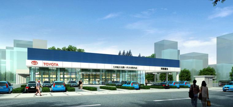 (原创)汽车4S店建筑外观设计案例效果图-4s店13