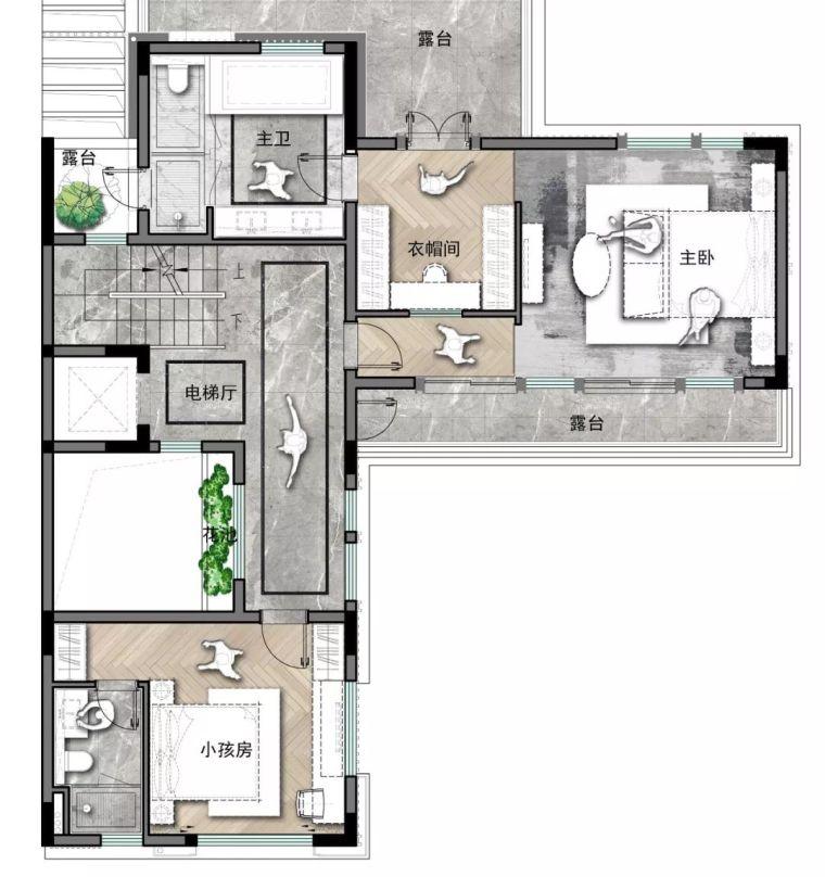质朴材质也能构建空间气质,顶级别墅样板间设计_23