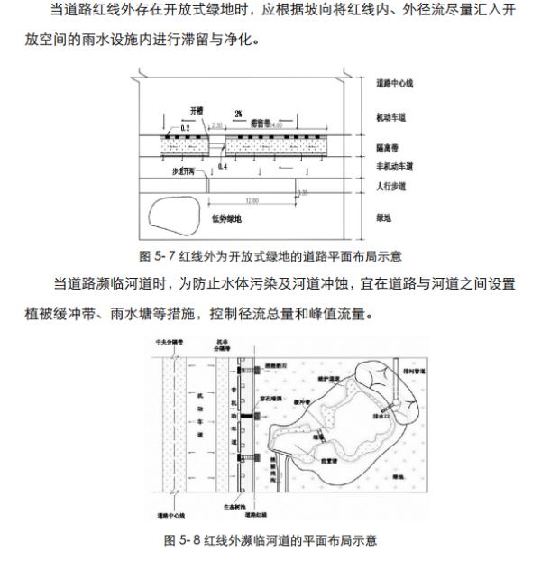 """[四川]""""海绵城市""""城乡规划专项设计详细解读文本(附规划图则+植物名录)-道路径流与红线外海绵设施相统筹"""