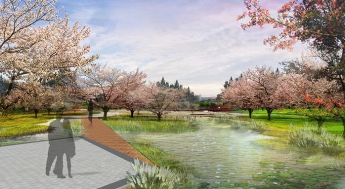 [山西]滨河崖壁生态立体化湿地公园景观设计方案-桃花湿地岛景观效果图