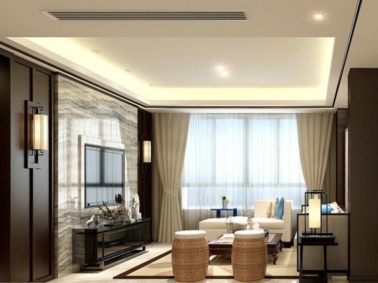 简约新中式客厅3D模型下载