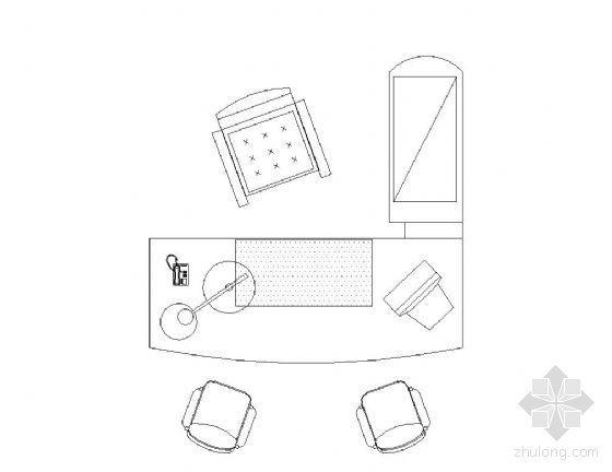办公桌平面图块