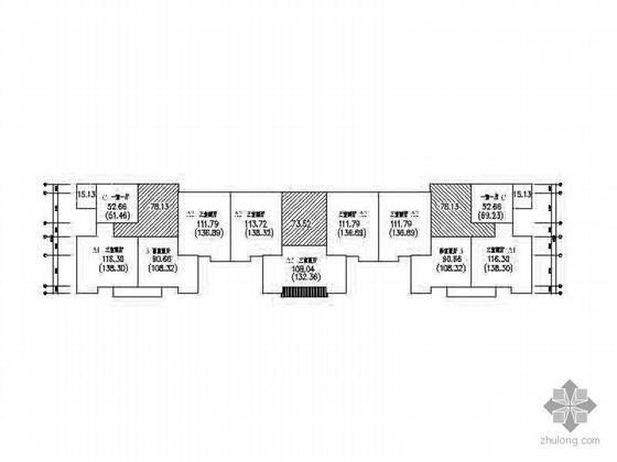 塔式高层一梯三、一梯四北梯户型组合平面图-