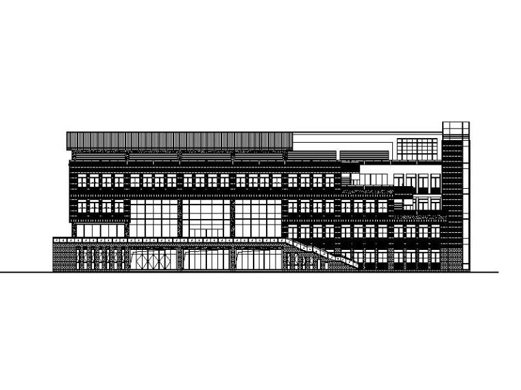 [江苏]五层玻璃幕墙高校行政办公楼建筑施工图