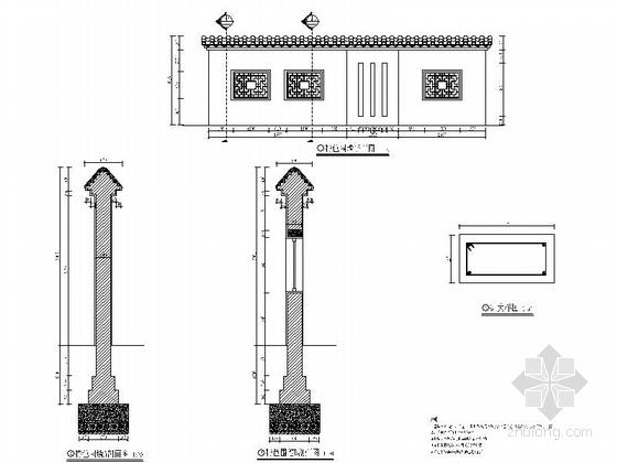 [浙江]现代工业园区景观改造设计施工图-特色围墙详图
