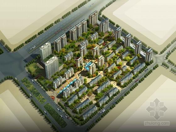 小区建筑鸟瞰3D模型下载