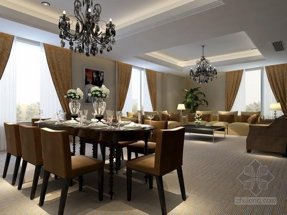 簡約歐式餐廳3D模型下載