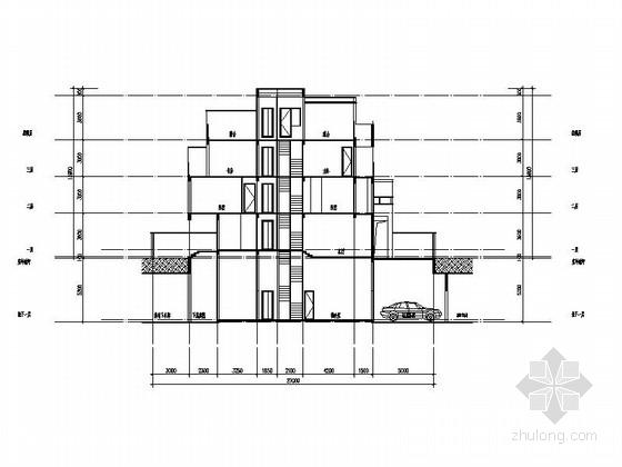 [四川]三层阶梯状别墅建筑施工图(含多套方案)-三层阶梯状别墅建筑剖面图