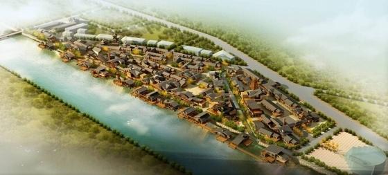 [湖南]风情古街景观规划设计方案-鸟瞰图