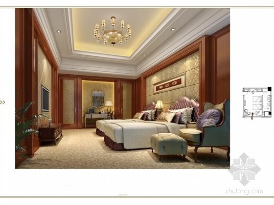 [苏州]奢华欧式风格商务会所七层客房区室内装修图(含效果) 客房效果