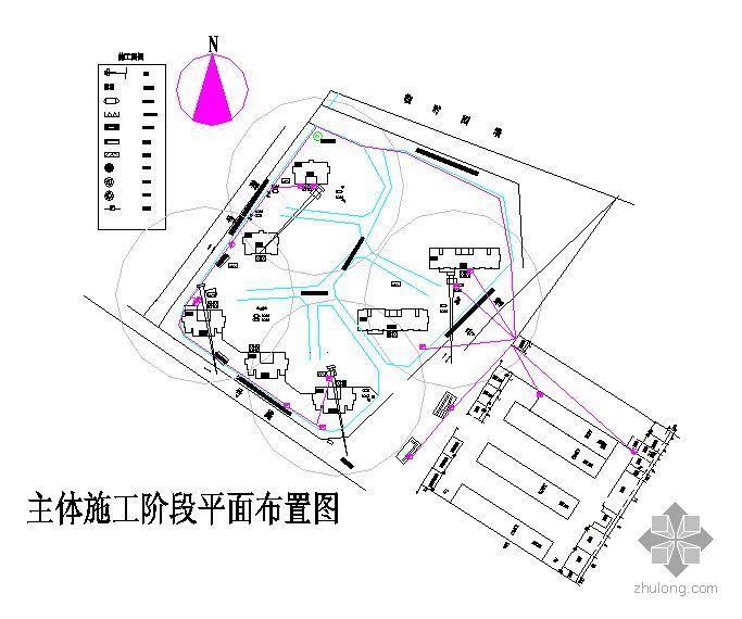 某工程主体结构及装饰施工阶段施工平面布置图