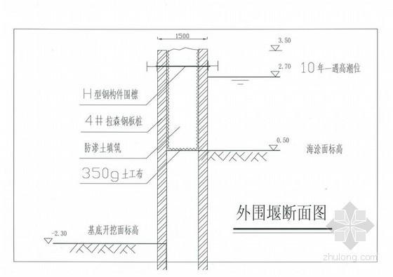 [浙江]某水闸钢板桩围堰施工方案(有图纸)