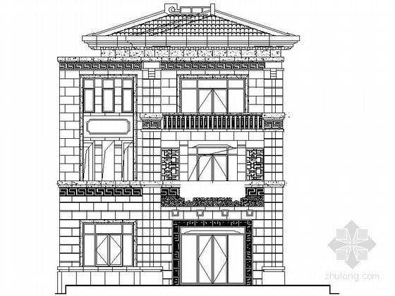 [江苏]某三层中式风格别墅建筑施工图(南入口)