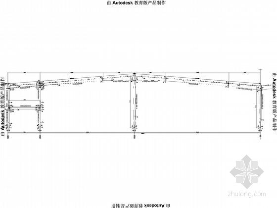 局部二层,120米大跨度门式刚架单层厂房结构施工图