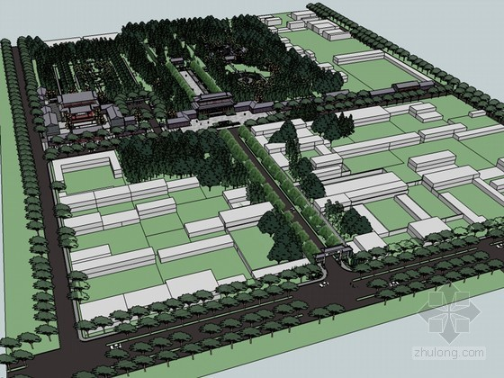 中式公园SketchUp模型下载