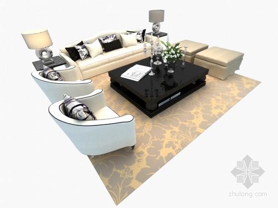 清新沙发组合3D模型下载
