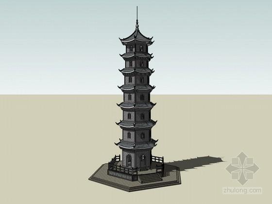 景观塔sketchup模型下载